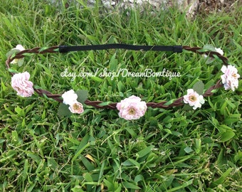 Pink Flower Crown, Brown Flower Crown