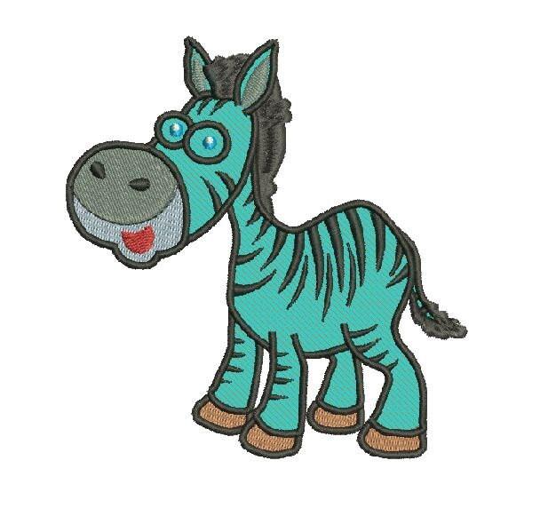 Zebra cute machine applique embroidery designs size and