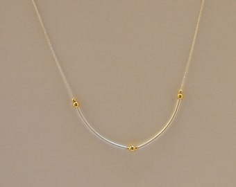 Delicate/ Minimalist Chain Necklace in Sterling Silver and 24K Vermeil on 925