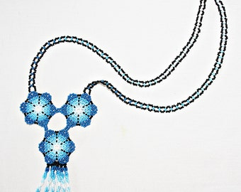 Blue Peyote Huichol Necklace - Peyote Flower - Peyote Necklace - Native American Jewelry - Huichol Jewelry - Mexican Necklace - Authentic