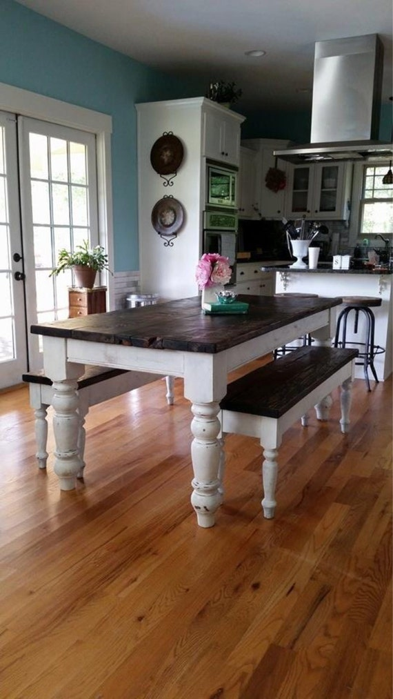 8 foot Farmhouse Table w 2 Benches by WellsWorksFurniture on Etsy