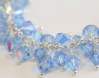 Blue Vintage Crystal ChaCha Bracelet - Chunky Charm Bracelet