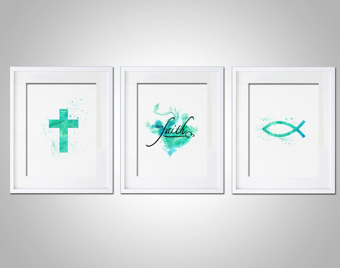 watercolor art print religious have faith art by amourableart. Black Bedroom Furniture Sets. Home Design Ideas