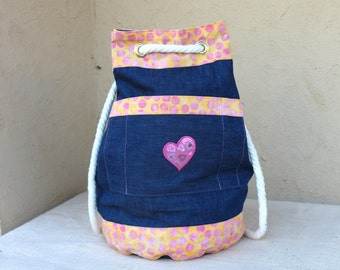 Denim Drawstring Backpack - Pink & Coral Trim by Uniquely Yours Totes