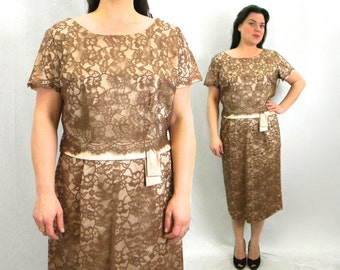 50s Brown Lace Party Dress | Cocoa Brown & Taupe Floral Lace Dress | A DuBarry Fashion | Extra Large