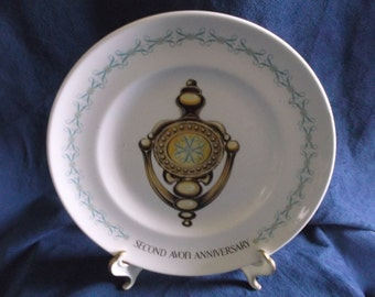 Vintage Avon Doorknocker 2nd Anniversary Representative Plate