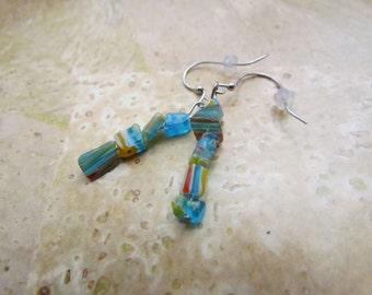 Blue Millefiori Glass Earrings