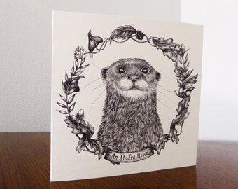 Illustrated cards of Irish native species - Otter