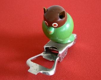 Quirky, Delightful Wooden Owl Sitting on Folding Bottle Opener.