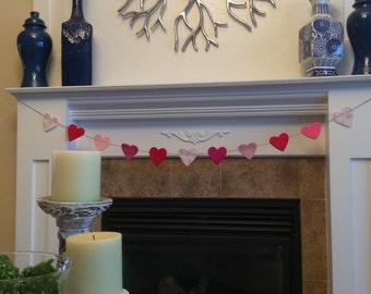 Heart Felt Garland, Valentine Mantle Decor, Pink Felt Heart Banner,Nursery room decor,Wedding Garland,Wedding Anniversary Garland