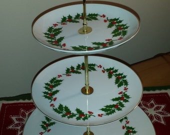 3-Tiered Dessert or Fruit Server Plate Stand with Holly Berry Ring Pattern-Japan 1970s D019-5
