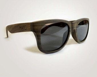 Mato Polarized Wooden sunglasses - Mens/Womens Wooden Sunglasses - Wayfarer Wood Sunglasses - Bamboo Sunglasses Case