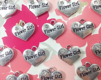 Flower Girl Charm - Sterling Silver Heart Bead with Rhinestone - Small Charms - Flat rate shipping