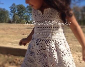 Crochet dress for little girl, Crochet dress for toddler, Flower girl dress, Rustic wedding flower girl, Crochet dress for birthday