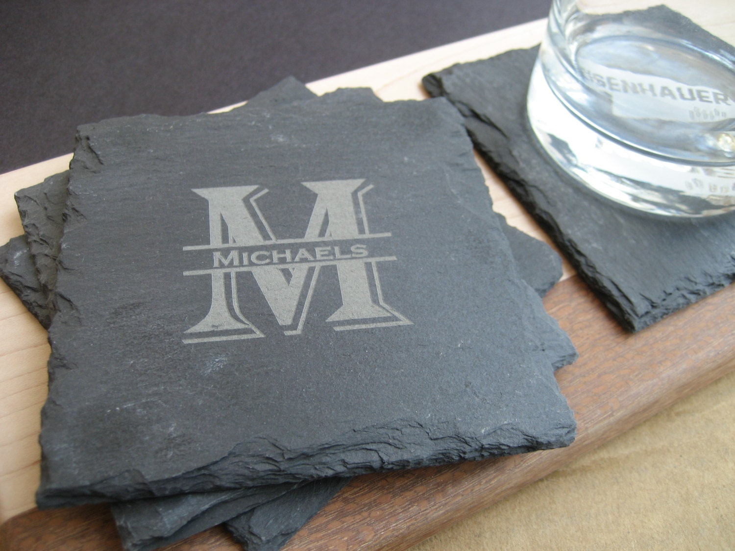 Personalized slate coasters drink coasters set by highpointgifts - Slate drink coasters ...