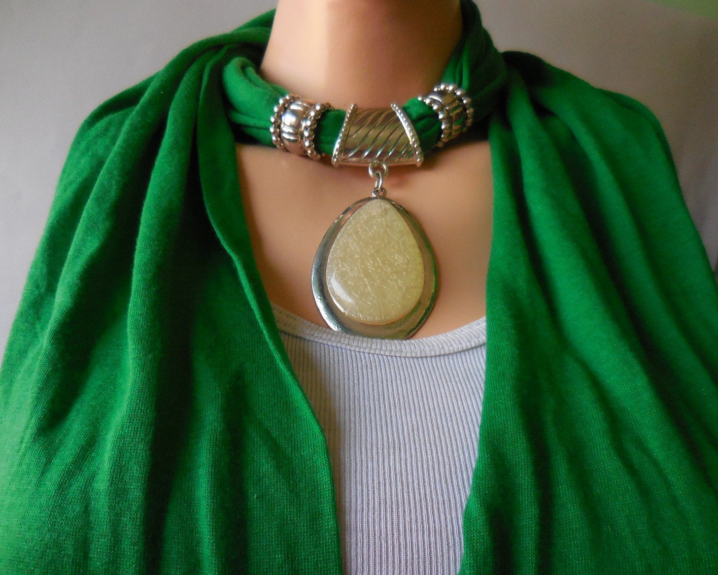 pendant scarf stylish scarf green cotton scarf by