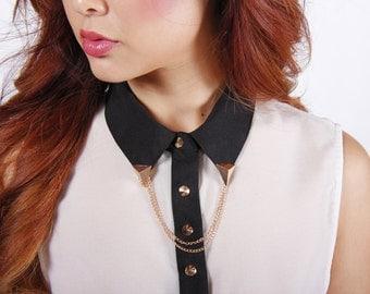 Gold Chain Collar Pin