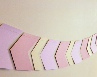 Pink and Cream Shabby Chic Chevron Paper Garland   Office or Cubicle Decor