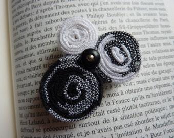 Pin black and white fabric and small retro button