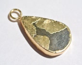 1Pc 33x18mm 24Kt Gold Electroplated Pyrite Pear Pendant, Gold Layered Single Bail Pendant, Gemstone Charm Pyrite Pendant