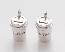 Coffee Cup Pendant, Coffee Charm, Jewelry Supplies, Brass Charm, Matte Rhodium Plated over Brass- 2 Pieces-[AP0056]-MR