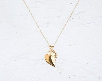 Gold Necklace | Gold Leaf Necklace |  Leaf Chain | Jewelry Design | Tandu Jewelry