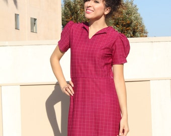 Classic Plum Colored 1950s Dress