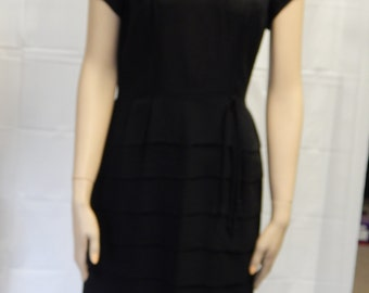 60's Vintage Black Crepe Dress with tiered Skirt