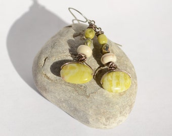 Earthy Chartreuse Dangles - rustic silver wire wrapped dangles with lemon lime serpentine