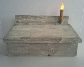 Primitive Country Farmhouse Decor Aged Wood Note Desk Storage Box Candle Holder Grungy Candle