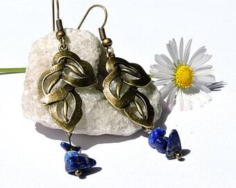 Lapis lazuli earrings, handmade gemstone jewelry, natural bohemian earring, lapis lazuli jewelry blue gemstone earring bohemian jewelry wina