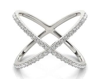14kt Gold Diamond Criss Cross X Ring, 14K  White Diamond Ring, Criss Cross Ring