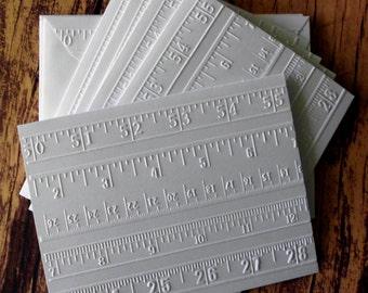 Ruler Cards, Set of 5, White Embossed Note Card Set, Blank Greeting Cards, Gift for Teachers, Teacher Stationery Set, Embossed Ruler Cards