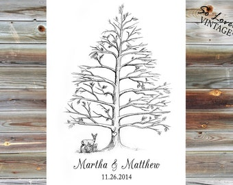 Guest Book Thumb Print Tree with Animal
