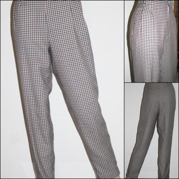 Elegant 1970s Womens Green Plaid Cotton Slack Pants Sz 6 Hippie
