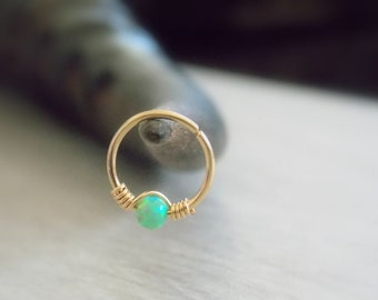 Gold Cartilage Earring, tiny opal hoop, sterling silver cartilage Hoop Earrings, tiny hoops