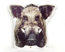 Wild Boar Pillow, Animal Decor, Linen Fabric, Boar Gifts, Animal Head, Wild Boar Cushion, Cabin Pillow, Handmade Throw Pillow