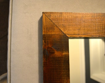 Stained Cedar Mirror - 17x17 inches