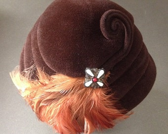Vintage Brown Marionette Genuine Velour Hat with Veil, Twist, and Orange Feathers