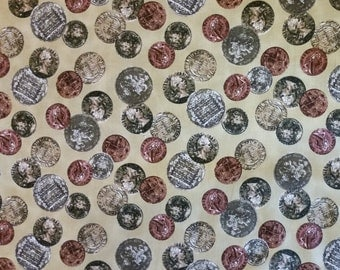 Liberty - Coins on Tan Fabric