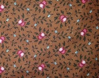 Trading Post - Pink Buds on Brown Fabric