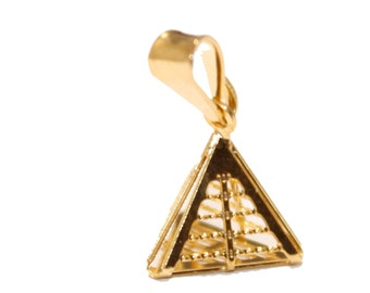 Pyramid Charm Pendant 18k Gold Plated with 18 inch Chain