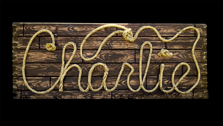 Charlie 36 Western Rope Name Sign Cowboy Theme Room. Yeso Logo. Underwate Pool Murals. Super Mario Murals. Hogwarts Express Signs