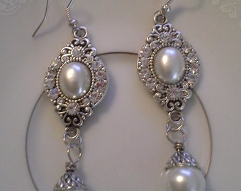 "Antique Silver Crystal and Pearl Drops  E181 ""Purity"""
