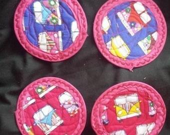 Mug rug Campervan pink fabric coasters set of 4