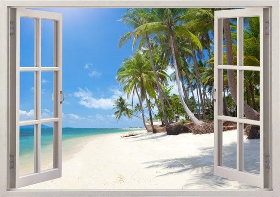 Tropical beach wall decal palm tree decal 3d window for home - Stickers papier peint mural ...
