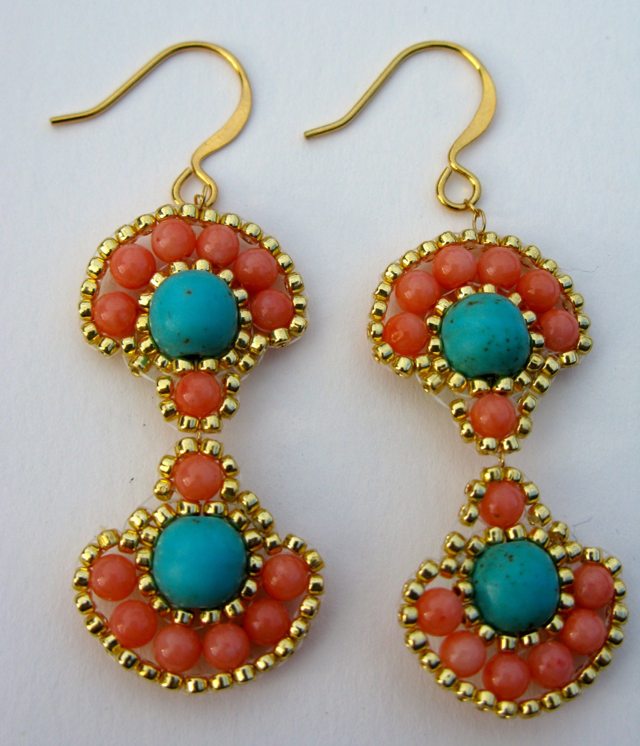 turquoise and coral dangle earrings turquoise and by