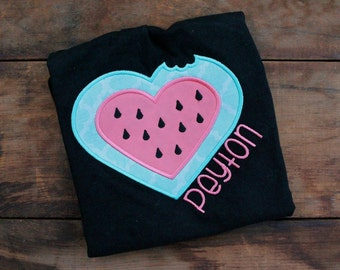 Watermelon Heart Embroidered Shirt - Personalized Summer Shirt - Coral and Green Shirt