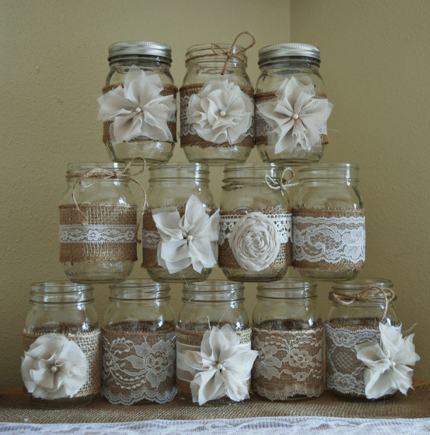 Country Wedding Mason Jars: Set Of 12 Mason Jar Sleeves Rustic Burlap Wedding