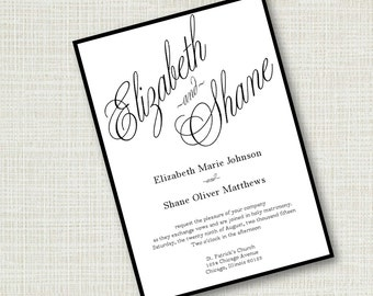 Formal Script Wedding Invitation Black